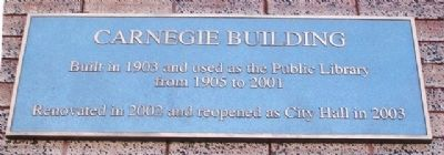 Carnegie Building Marker image. Click for full size.