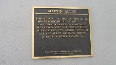 Martin Alley Marker image. Click for full size.