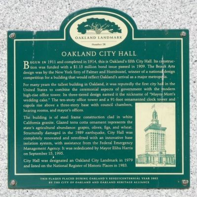 Oakland City Hall Marker image. Click for full size.