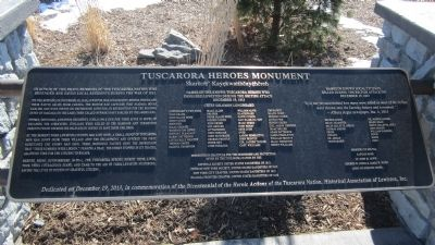 Tuscarora Heroes Monument Marker image. Click for full size.