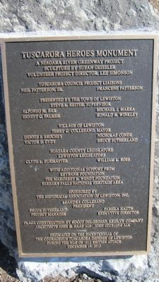 Tuscarora Heroes Monument Marker Facilitators Plaque image. Click for full size.