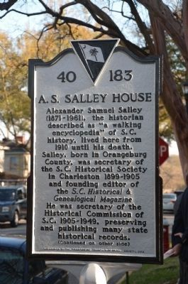 A.S. Salley House Marker - Side 1 image. Click for full size.