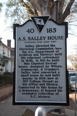 A.S. Salley House Marker - Side 2 image. Click for full size.