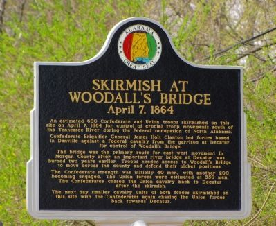 Skirmish at Woodall's Bridge Marker image. Click for full size.