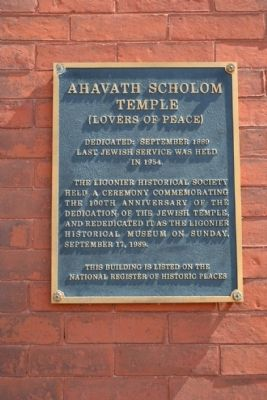 Ahavath Scholom Temple Marker image. Click for full size.