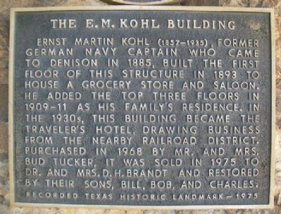 The E. M. Kohl Building Marker image. Click for full size.
