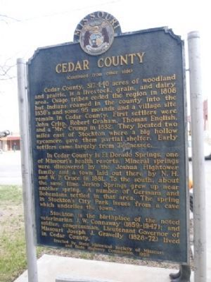 Cedar County Marker (side 2) image. Click for full size.