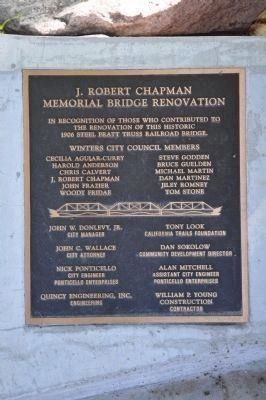 J. Robert Chapman Memorial Bridge Renovation Marker image. Click for full size.