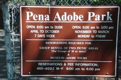 Peña Adobe Park Sign image. Click for full size.
