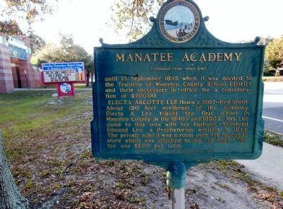 Manatee Academy Marker (<i>side 2 wide view</i>) image. Click for full size.