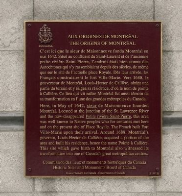 Aux origines de Montréal / The origins of Montréal Marker image. Click for full size.