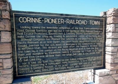 Corinne Pioneer Railroad Town Marker image. Click for full size.