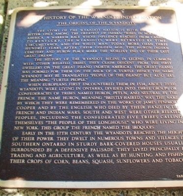 The History of the Wyandot Indian Nation Tablet 1 image. Click for full size.