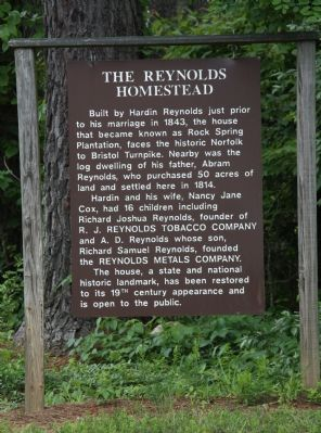 The Reynolds Homestead Marker image. Click for full size.