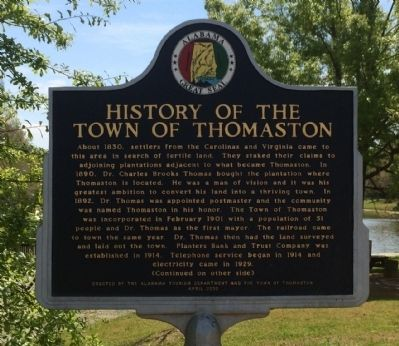 History of the Town of Thomaston Marker image. Click for full size.