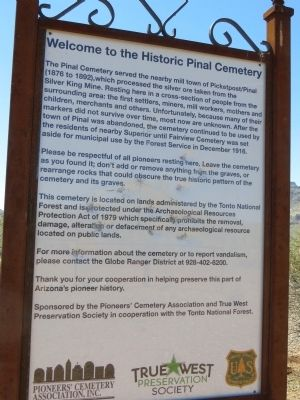 Historic Pinal Cemetery Marker image. Click for full size.