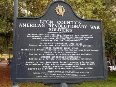 Leon County's American Revolutionary War Soldiers Marker image. Click for full size.