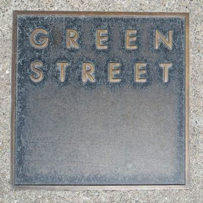 Green Street Marker, top left plaque image. Click for full size.