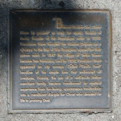Francisco Street Marker, center right plaque image. Click for full size.