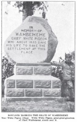 In Memory of Wahbememe Marker<br>in early 20th Century image. Click for full size.