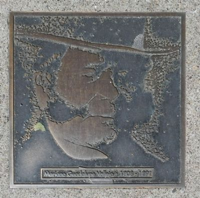 Vallejo Street Marker, center left plaque image. Click for full size.