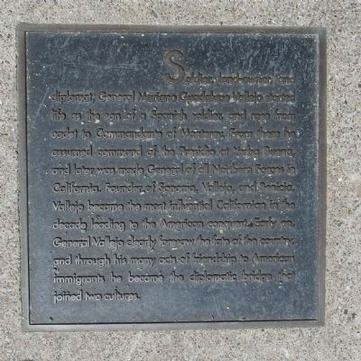 Vallejo Street Marker, center right plaque image. Click for full size.
