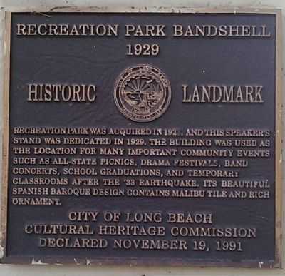 Recreation Park Bandshell Marker image. Click for full size.