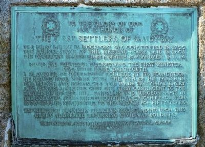 The First Settlers of Sandy Bay Marker image. Click for full size.