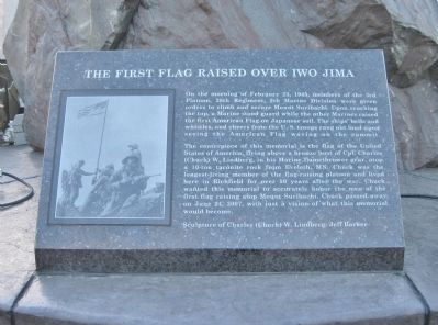 The First Flag Raised Over Iwo Jima Marker image. Click for full size.