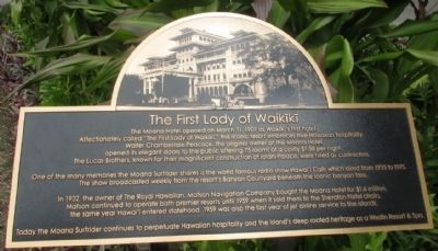 The First Lady of Waikiki Marker image. Click for full size.