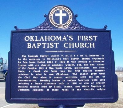 Oklahoma's First Baptist Church Marker image. Click for full size.