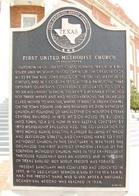 First United Methodist Church of Van Alstyne Marker image. Click for full size.