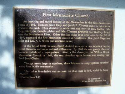 First Mennonite Church Marker image. Click for full size.