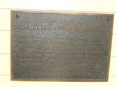 Birth Home of Dr. Martin Luther King, Jr. Marker image. Click for full size.