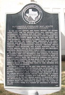 Butterfield Overland Mail Route Through Grayson County Marker image. Click for full size.