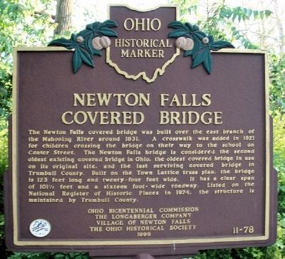 Newton Falls Covered Bridge Marker image. Click for full size.