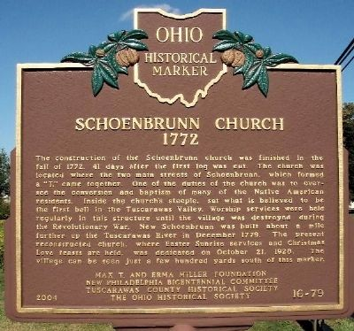Schoenbrunn Church 1772 Marker image. Click for full size.