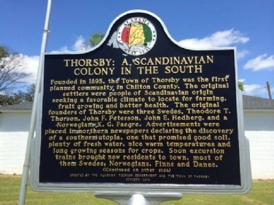 Thorsby: A Scandinavian Colony in the South Marker image. Click for full size.