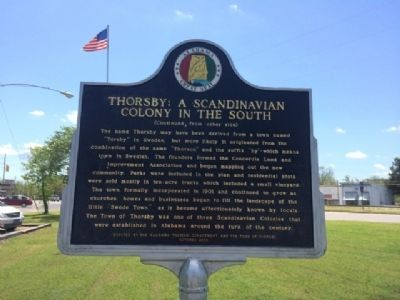 Thorsby: A Scandinavian Colony in the South Marker (reverse) image. Click for full size.