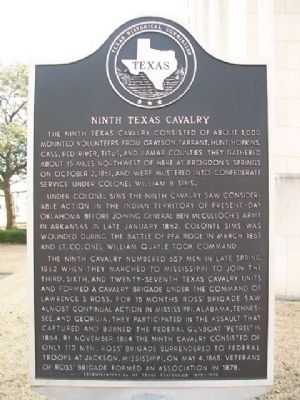 Ninth Texas Cavalry Marker image. Click for full size.