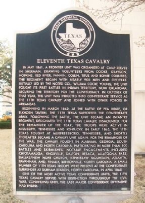 Eleventh Texas Cavalry Marker image. Click for full size.