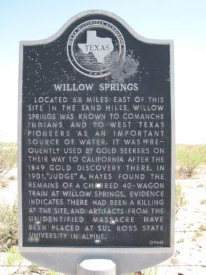 Willow Springs Marker image. Click for full size.