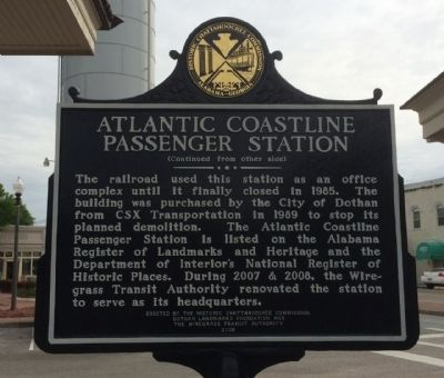 Atlantic Coastline Passenger Station Marker (reverse) image. Click for full size.
