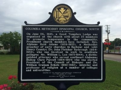 Columbia Methodist Episcopal Church, South Marker image. Click for full size.
