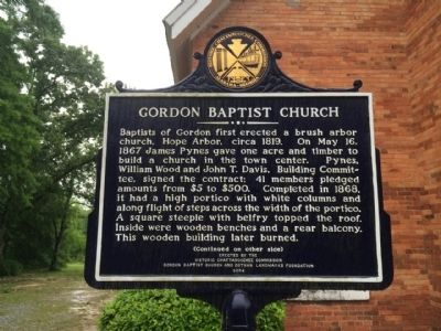 Gordon Baptist Church Marker image. Click for full size.