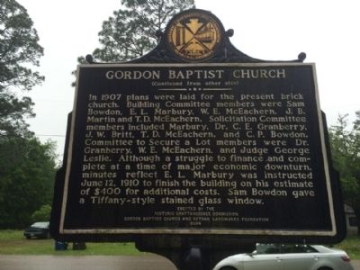 Gordon Baptist Church Marker (reverse) image. Click for full size.