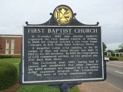 Dothan First Baptist Church Marker image. Click for full size.