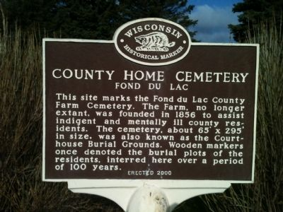 County Home Cemetery Marker image. Click for full size.