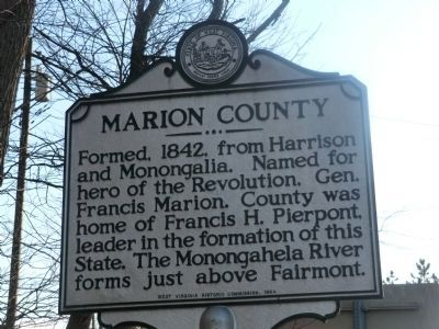 Marion County-Monongalia County Marker-Side 1 image. Click for full size.