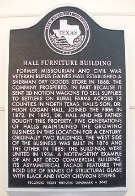 Hall Furniture Building Marker image. Click for full size.